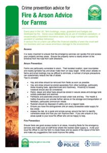 Fire & Arson Advice Sheet for Farms