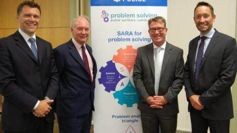 Pictured at the Warwickshire Problem Solving Partnership Event are, from left: Chief Superintendent Alex Franklin-Smith, Warwickshire Police and Crime Commissioner Philip Seccombe, Chief Constable Martin Jelley and Assistant Chief Constable Richard Moore.