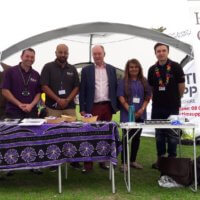 Meeting the team behind the Hate Crime Partnership and Warwickshire's Cyber Crime Advisor on the EquIP stand at Warwickshire Pride