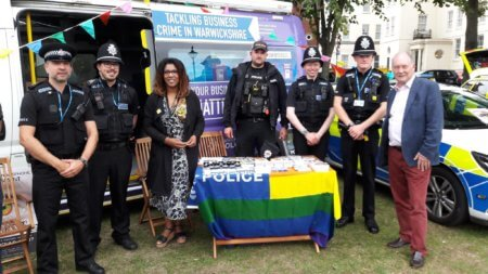 The Commissioner at the Warwickshire Police stand during Warwickshire Pride in 2018.