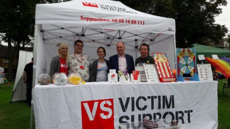 The Victim Support stand at Warwickshire Pride.