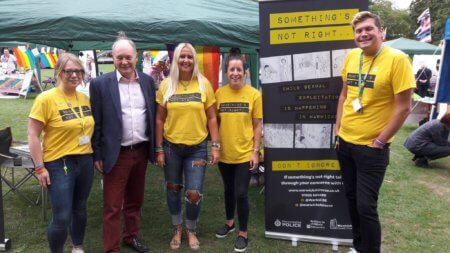 The Warwickshire CSE team's stand at Warwickshire Pride.