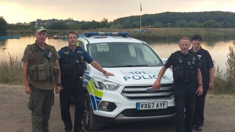 On patrol in North Warwickshire are, from left, Andy Eardley from the Environment Agency, PSCSO Simeon Hodson from Warwickshire Police, PC Dave Riley from Leicestershire Police and Carol Cotterill, Rural Crime Officer for North Warwickshire.
