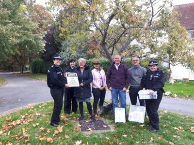 Insp Karen Jones, Rural Crime Officer Carol Cotterill, Ann Morton from the Bourton Trust, villagers Anita Wright, Tony Mather and Robert Jack with Sgt Sarah Masters from Warwickshire Police
