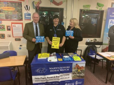 Warwickshire Police and Crime Commissioner Philip Seccombe with Rural Crime Officer Carol Cotterill and Vicki Parry, from Warwickshire Horse Watch