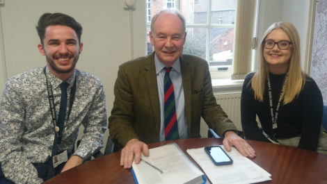 Warwickshire Police and Crime Commissioner Philip Seccombe (centre) with Cyber Crime Advisors Joseph Patterson and Abbey Baker.