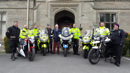 Bike Safe launch at Leek Wootton - police motorcyclists and civilian riders line up with their motorbikes at Leek Wootton with Police and Crime Commissioner Philip Seccombe