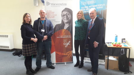 Police and Crime Commissioner Philip Seccombe (right) with representatives from Change, Grow, Live