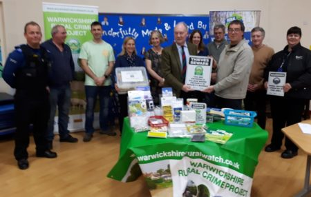 Warwickshire Police and Crime Commissioner presents the village with its community box and 'Thieves Beware' signage.