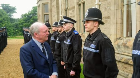 Police and Crime Commissioner Philip Seccombe talks to the student officers