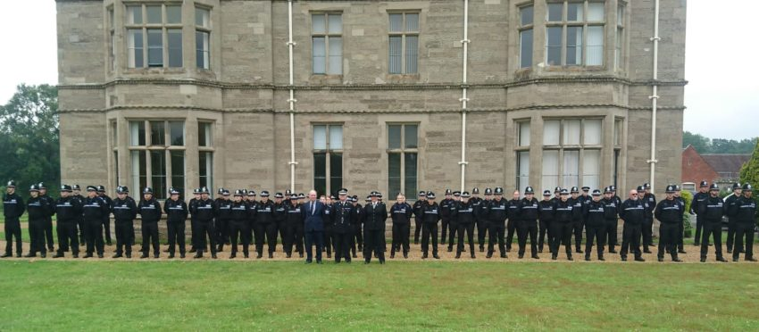 The student officers and PCSOs ready for inspection with Chief Constable Martin Jelley, Police and Crime Commissioner Philip Seccombe and Assistant Chief Constable Debbie Tedds