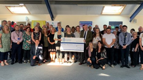 Last year's grants recipients with Mr Seccombe at a special launch event.