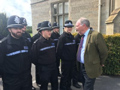 Philip Seccombe talking to new police recruits