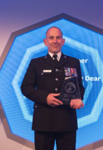 PC Andrew Dear with the National Police Bravery Award 2019