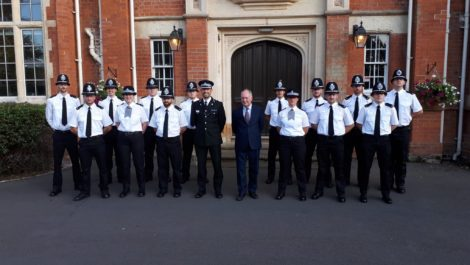 Warwickshire PCC Philip Seccmbe and Deputy Chief Constable Richard Moore with the new student officers at Warwick School