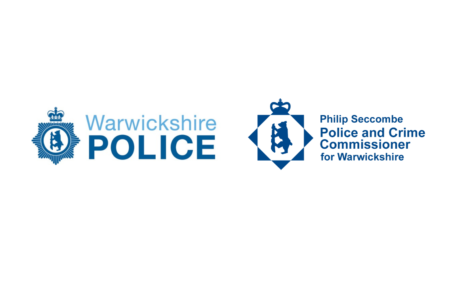 Warwickshire police logo and Philip Seccombe Police and Crime Commissioner for Warwickshire