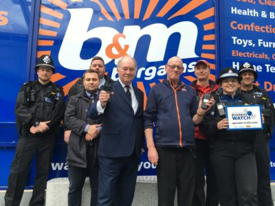 The Commissioner with members of the police Safer Neighbourhood Team, Town Rangers, Rugby First representatives and Business Crime Advisor Bogdan Fironda at a town centre retailer.