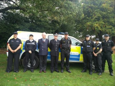 At the launch of the Rural Crime Team are: Rural Crime Officer Carol Cotterill, Inspector Allison Wiggin, PCC Philip Seccombe, Chief Constable Martin Jelley, Sergeant Bob Shaw, PC Andy Timmins, PC Kate Taylor, PC Craig Purcell
