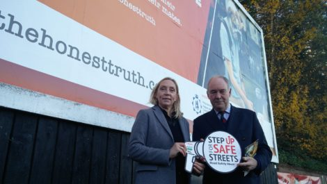 Annette Lloyd, Head of The Honest Truth, and Warwickshire Police and Crime Commissioner Philip Seccombe at one of the billboards on show across Warwickshire.