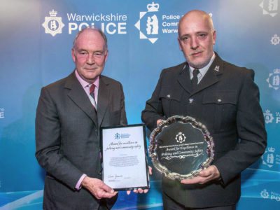 PCC Philip Seccombe and 2019 Excellence in Policing and Community Safety Award Winner, PC Stephen Croshaw