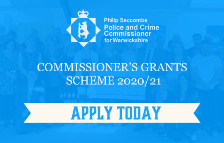 Banner sating 'apply today' for 2020/21 Commissioner's Grants Scheme