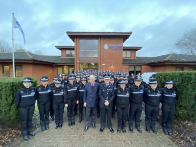 Warwickshire Police and Crime Commissioner Philip Seccombe and Chief Constable Martin Jelley with the 98 student officers at Stuart Ross House in Warwick.
