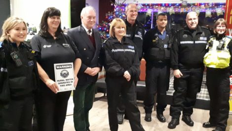 Warwickshire Police and Crime Commissioner Philip Seccombe with officers from the Rural Crime Team and Safer Neighbourhood Teams at the Atherstone meeting