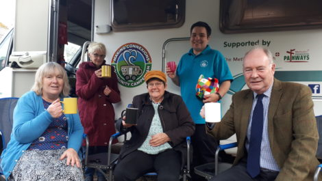 Police and Crime Commissioner Philip Seccombe (right) with, from left: Miriam Sitch, Dawn Ramshaw, Tina Latham and Lucy Catling enjoying a brew at the 'Elmer' motorhome.