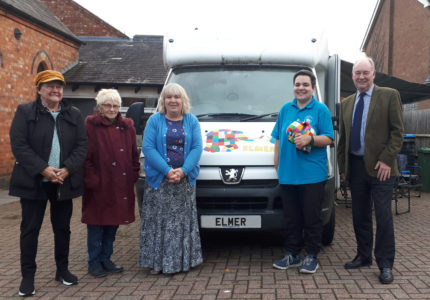 Police and Crime Commissioner Philip Seccombe (right) with, from left: Tina Latham, Dawn Ramshaw, Miriam Sitch, Lucy Catling, in front of 'Elmer'.