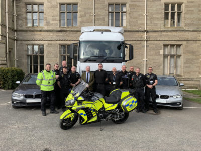 Warwickshire Police and Crime Commissioner Philip Seccombe is pictured with members of the Commercial Vehicle Unit and the 'Supercab' at Police Headquarters