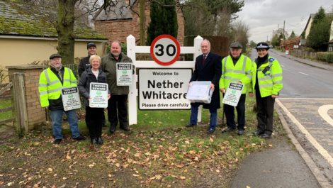 Richard Hemphill, Parish Councillor and Community Speed Watch volunteer; Bev Woollaston, Parish Clerk and Speed Watch Coordinator; Carol Cotterill, Rural Crime Office for Warwickshire Police; Keith Woodward, Chair of Parish Council; Warwickshire Police and Crime Commissioner Philip Seccombe; Arthur Harris, Community Speed Watch volunteer and PCSO Jane Owen from the Coleshill Safer Neighbourhood Team.