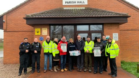 PCSO Mo Yaqub, PC Simon Ackroyd, Kurt Kovach and Lynda Kovach (Community Speed Watch), Nigel O'Mara (Vice Chair of Parish Council), Inspector Allison Wiggin, Gary Hope (Chair of Parish Council), Robert Stokes (Community Speed Watch), Rural Crime Officer Carol Cotterill, PCSO Sarah Fretter.