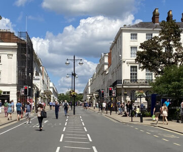 Shoppers in The Parade in Leamington Spa