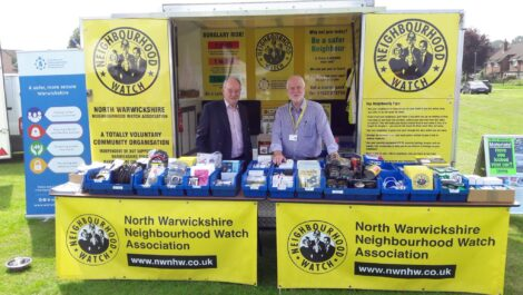 Warwickshire Police and Crime Commissioner Philip Seccombe with Tony Hardman from North Warwickshire Neighbourhood Watch Stand during the Coleshill Big Day Out in 2018.