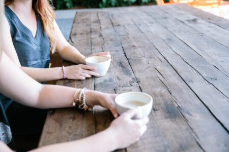 Two women having coffee, faces not shown