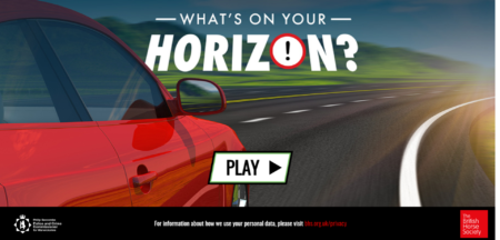 Launch screen of the What's on your horizon interactive video