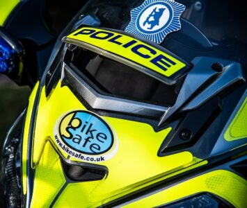 Police motorcycle displaying the Bike Safe logo