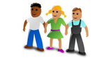Cartoon of three people standing in a line smiling
