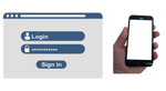 A login screen and a mobile phone