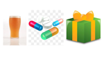 Picture of alcohol, pills and a present