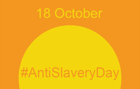 Banner for Anti-Slavery Day, October 18