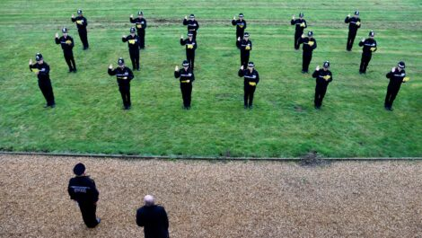 An aerial view of new Detective Constable's during their Attestation Ceremony