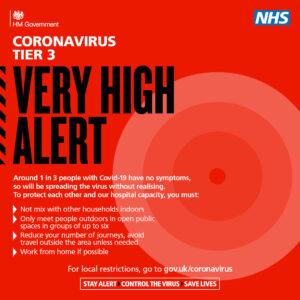 Coronavirus Tier 3 Very High Alert