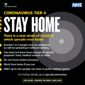 Coronavirus Tier 4. Stay at Home. Only up to two people can meet in public outdoor spaces. You must not leave home except for specific purposes: food, medical reasons or work . Do not travel unless necessary. Work from home if you can.