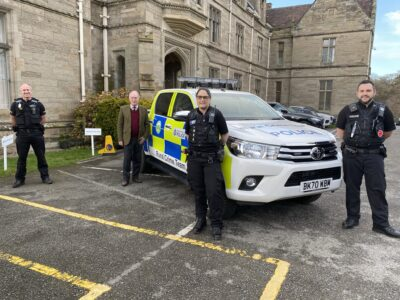 The Rural Crime Team vehicle with the PCC and officers