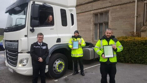 Chief Constable Martin Jelley, Marie Biddulph of Highways England, PC Mark Russell and PS Carl Stafford