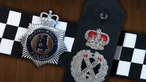Chief Constable epaulettes and Warwickshire Police cap badge
