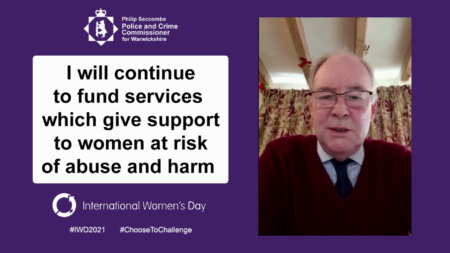 """Banner saying """"I will continue to fund services which give support to women at risk of abuse and harm"""""""