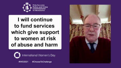 "Banner saying ""I will continue to fund services which give support to women at risk of abuse and harm"""