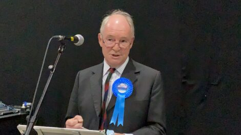 Philip Seccombe giving an acceptance speech.